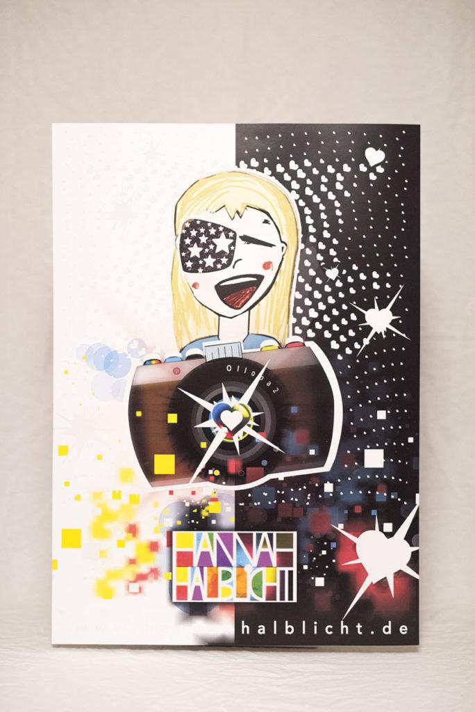 Kinderzimmer Poster leuchtet Sterne Herzen Licht Leuchposter