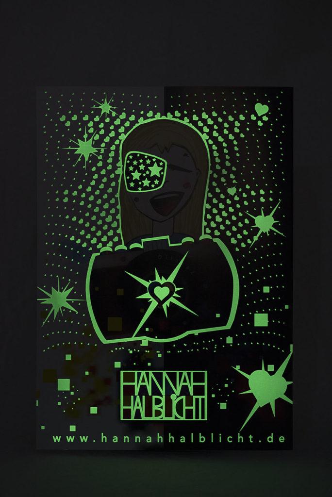 Kinderzimmer Poster leuchtet Sterne Herzen Licht Leuchposter Hannah Halblicht